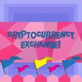 Troca de Cryptocurrency do texto da escrita O negócio do significado do conceito permite que os clientes troquem a placa dos cryp ilustração do vetor