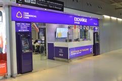 A troca de dinheiro de Siam Commercial Bank em Banguecoque Fotos de Stock