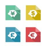 Troca de moeda de papel lisa ilustração stock