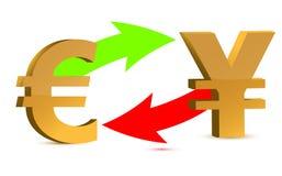 Troca de moeda. euro e ienes ilustração royalty free