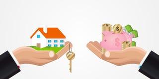 Troca de uma casa para o dinheiro Projeto creativo Vetor ilustração stock