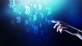 Troca do cryptocurrency de Bitcoin e conceito do investimento Tecnologia financeira, Fintech e dinheiro digital imagens de stock
