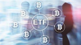 Troca do cryptocurrency de Bitcoin ETF e conceito do investimento no fundo da exposição dobro foto de stock