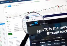 Troca do cryptocurrency de Hitbtc foto de stock