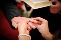 Troca dos anéis de casamento Foto de Stock Royalty Free