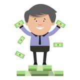Troca feliz do sucesso do homem de negócios dos desenhos animados Ilustração do vetor mim Imagens de Stock Royalty Free