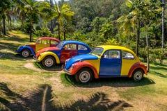 Troca-Troca色的汽车由Jarbas的在Inhotim公开当代艺术博物馆- Brumadinho,米纳斯吉拉斯州,巴西大步慢跑 免版税库存图片
