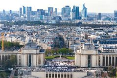 Trocadero鸟瞰图从艾菲尔铁塔的 免版税库存照片