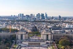 Trocadero鸟瞰图从艾菲尔铁塔的 库存图片