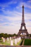 Эйфелева башня Парижа от Trocadero Стоковые Изображения RF