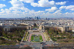 Trocadero from bird view. Trocadero and business-part of Paris visible from Eiffel tower Royalty Free Stock Photo