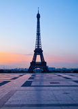 Trocadero and Eiffel tower, Paris. Trocadero in Paris with Eiffel tower at sunrise and clear blue sky Royalty Free Stock Photo
