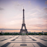 Trocadero and Eiffel Tower at sunshine. Royalty Free Stock Images