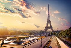Trocadero and Eiffel Tower. View on gardens Trocadero and Eiffel tower at sunrise, Paris Royalty Free Stock Photo