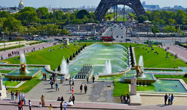 Trocadero Fountain, near the Eiffel Tower Stock Photos