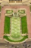 Trocadero fountains, aerial view. From Eiffel Tower Royalty Free Stock Photography