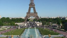 Trocadero Fountains and Eiffel Tower stock video