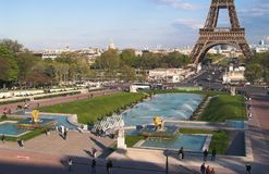 Trocadero gardens in afternoon. The view of Trocadero gardens, Lena bridge,  Eiffel tower and Mars field in the afternoon. Paris, France Stock Images