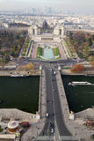 Trocadero Gardens From Eiffel Tower, Paris Royalty Free Stock Images