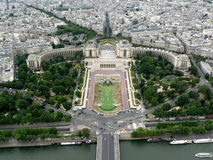 Trocadero gardens and the Palais de Chaillot. View from Eiffel tower. Paris, France Royalty Free Stock Images