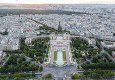 Trocadero Gardens Paris. The Trocadero Gardens as seen from the Eiffel Tower in the city of Paris, France Royalty Free Stock Photo