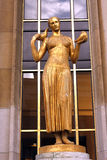 Trocadero - Gold woman statue - Paris. The Trocadéro, site of the Palais de Chaillot, is an area of Paris, France, in the 16th arrondissement, across the stock photography