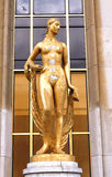 Trocadero - Gold woman statue - Paris. The Trocadéro, site of the Palais de Chaillot, is an area of Paris, France, in the 16th arrondissement, across the royalty free stock photography