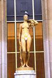 Trocadero - Gold woman statue - Paris. The Trocadéro, site of the Palais de Chaillot, is an area of Paris, France, in the 16th arrondissement, across the stock photo