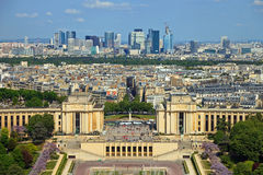 Trocadero and La Defence background Stock Photography
