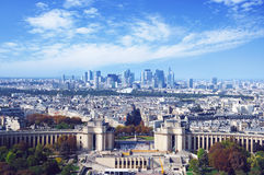 Trocadero and La Defense view from Eiffel tower Royalty Free Stock Photos