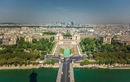 Trocadero monumement as seen from second level of eiffel tower. Paris,France stock images
