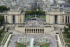 Trocadero Monument from Eiffel Tower in Paris with people royalty free stock photography