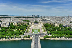 Trocadero - Paris, France. Aerial view of Trocadero as seen from the Eiffel Tower with & x22;La Defense& x22; in the background in Paris, France Stock Photos