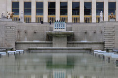 Trocadero pools symetry. The pools in front of Trocadero palace Stock Images