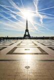 Trocadero solsken Eiffel Royaltyfri Foto