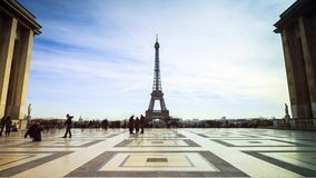Trocadero timelapse. Beautiful 4K UHD timelapse of the Trocadero square in Paris, France stock video