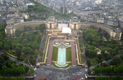 Trocadero from the top of the Eiffel Tower. A birds eye view of Trocadero from the top of the Eiffel Tower, Paris, France Royalty Free Stock Photos