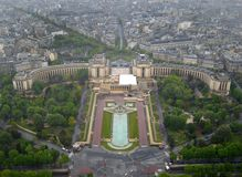 Trocadero from the top of the Eiffel Tower. A birds eye view of Trocadero from the top of the Eiffel Tower, Paris, France Stock Photo
