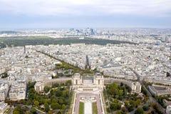 Trocadero trädgård och Paris sikt från en flyg- sikt Royaltyfri Bild