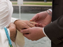 Trocando anéis de casamento Imagens de Stock Royalty Free
