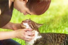 Trocas de carícias Cat Outdoors da mulher imagem de stock royalty free