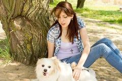Trocas de carícias da mulher seu cão pequeno bonito Imagens de Stock