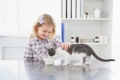 Trocas de carícias felizes do proprietário seu leite bebendo do gato Fotos de Stock Royalty Free