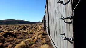 The Trochita Patagonia, steam locomotive. Travel on the train Trochita in Patagonia, Esquel, Argentina stock footage