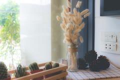Trockenblume im Vase, Blumenstrauß von Trockenblumen im Vase Stockfotografie