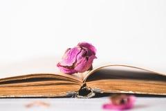 Trockenblumen und Buch auf hölzernem Hintergrund Stockbild