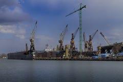 Trockendock an der Werft in Gdansk Stockfoto