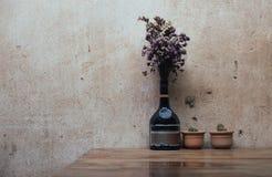 Trockene Blume auf Holztisch mit Kaktus Lizenzfreie Stockfotos