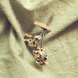 Trockene Blume mit hölzernem Klipp auf grünem Stoffhintergrund Stockfotos