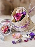 Trockene Blumen und Blätter Stockfotos
